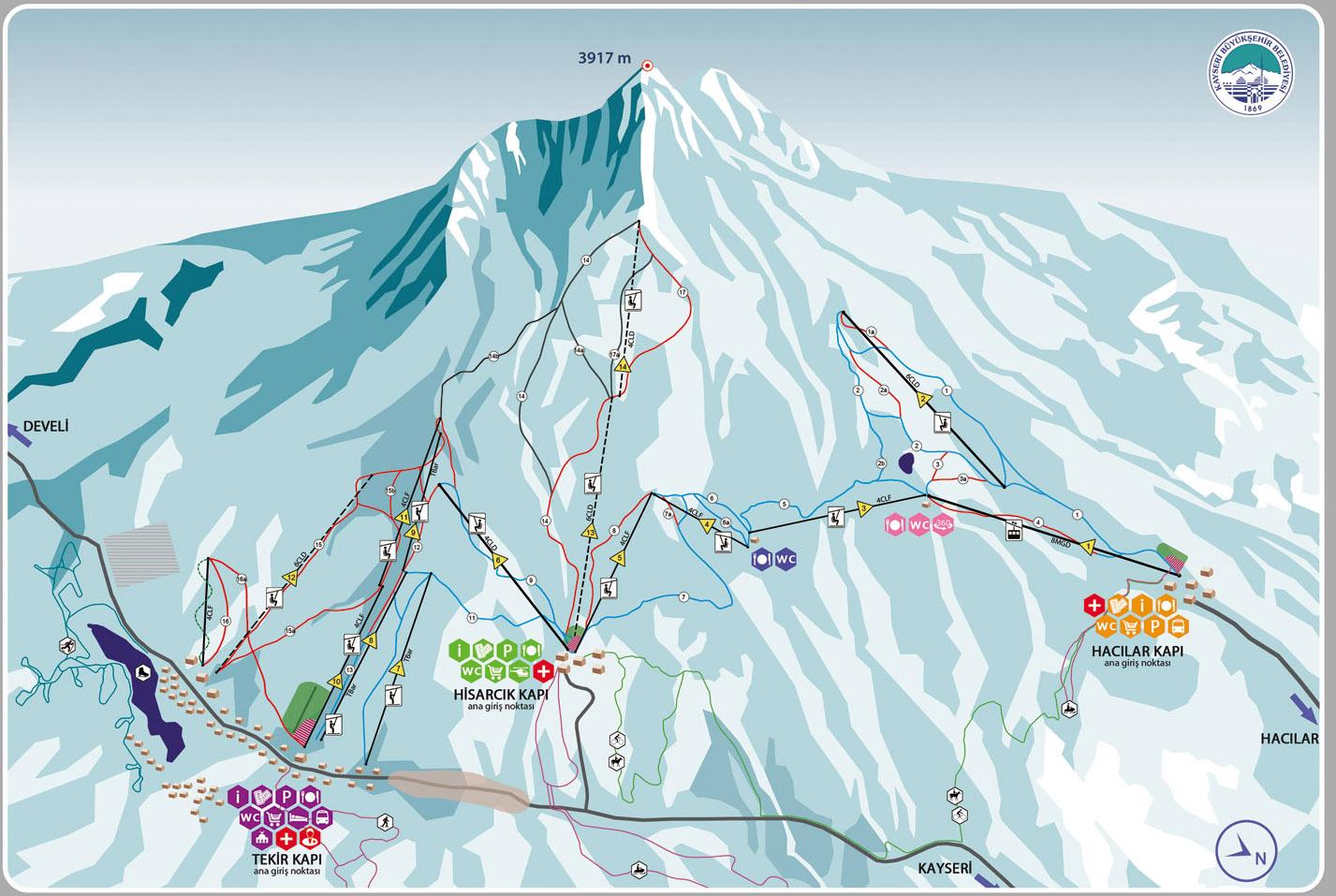 Карта склонов курорта Эрджиес